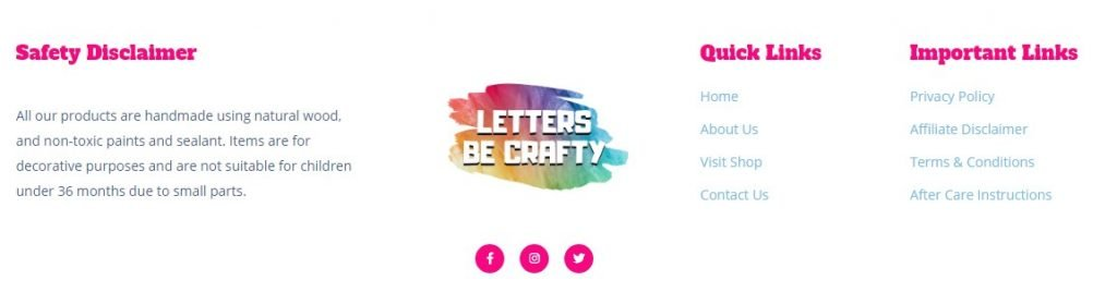 Letters Be Crafty - project views - footer