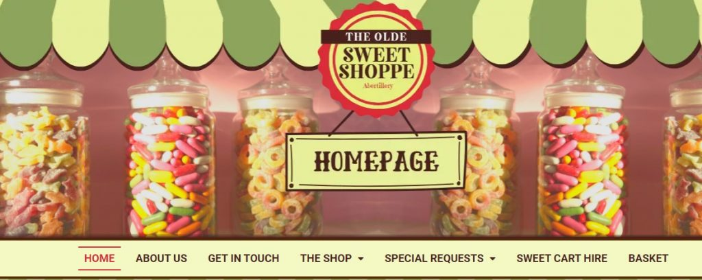 olde sweet shoppe project views - header homepage